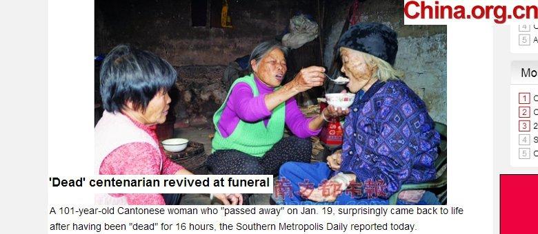 Mulher de 101 anos volta à vida durante o próprio funeral