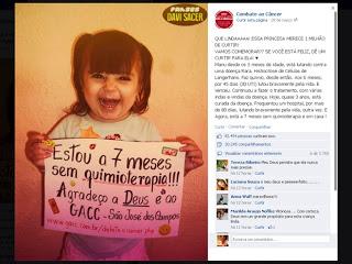 Menina de 2 anos comemora fim de quimioterapia e comove internautas