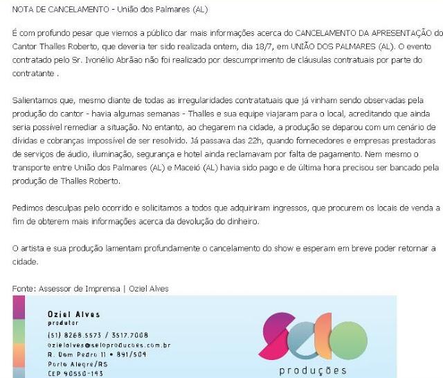 Thalles Roberto divulga Nota Sobre polêmica em show