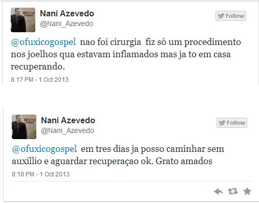 Nani Azevedo se recupera de um procedimento cirúrgico no joelho