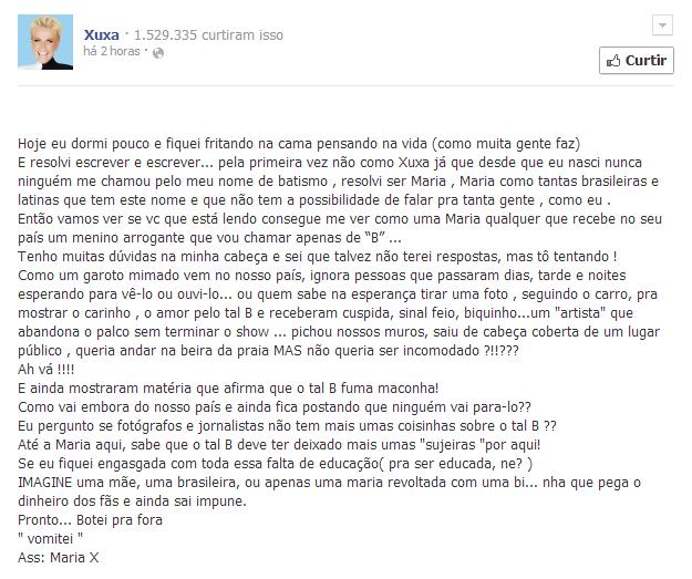 Xuxa ataca Justin Bieber em defesa da familia