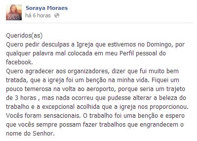 Cantora Soraya Moraes pede desculpas depois de ataque de estrelismo