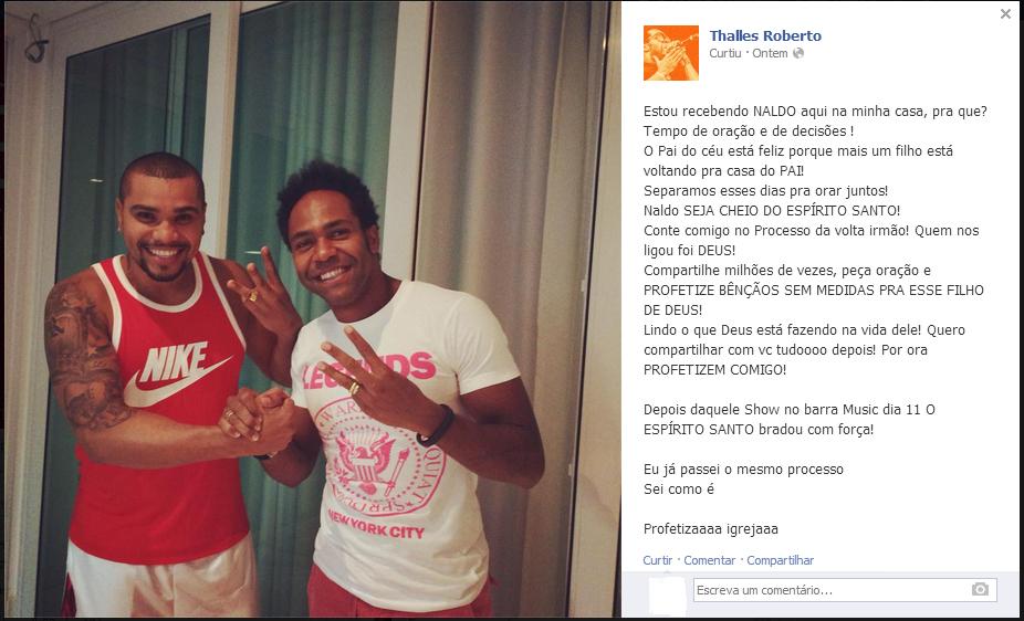 Fábio Mazza comenta suposta conversão de Naldo e critica Thalles Roberto