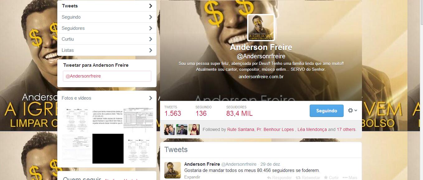 Anderson Freire é vitima de racker's e tem conta no Twitter roubada