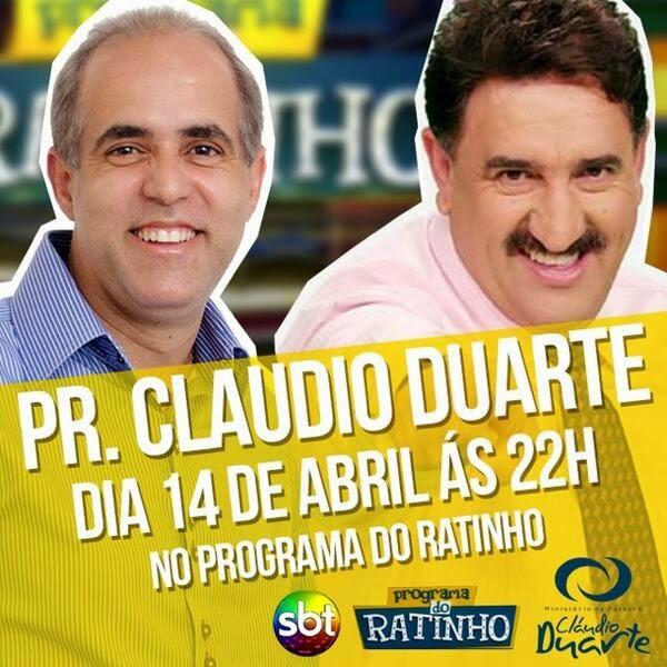 Pr. Claudio Duarte voltará ao Programa do Ratinho em Abril