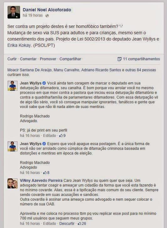 Advogado de Jean Wyllis ameaça internauta por publicação no Facebook