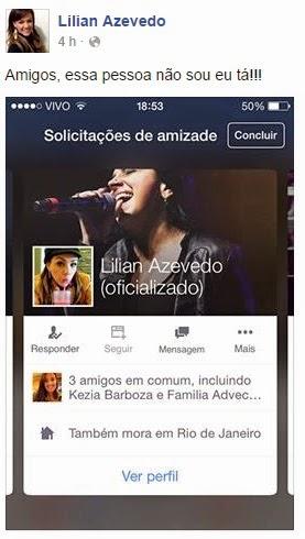 Lilian Azevedo denuncia que estão se passando por ela no twitter