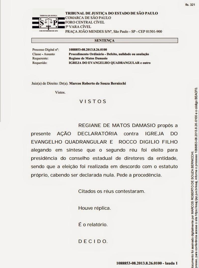Justiça determina afastamento do Presidente da Igreja do Evangelho Quadrangular de SP