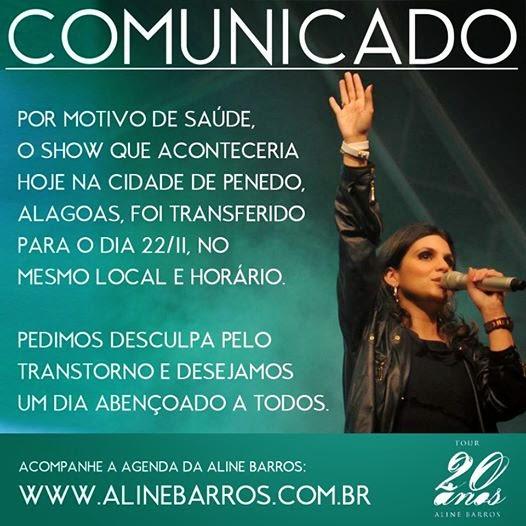 Aline Barros passa mal e cancela show em Alagoas