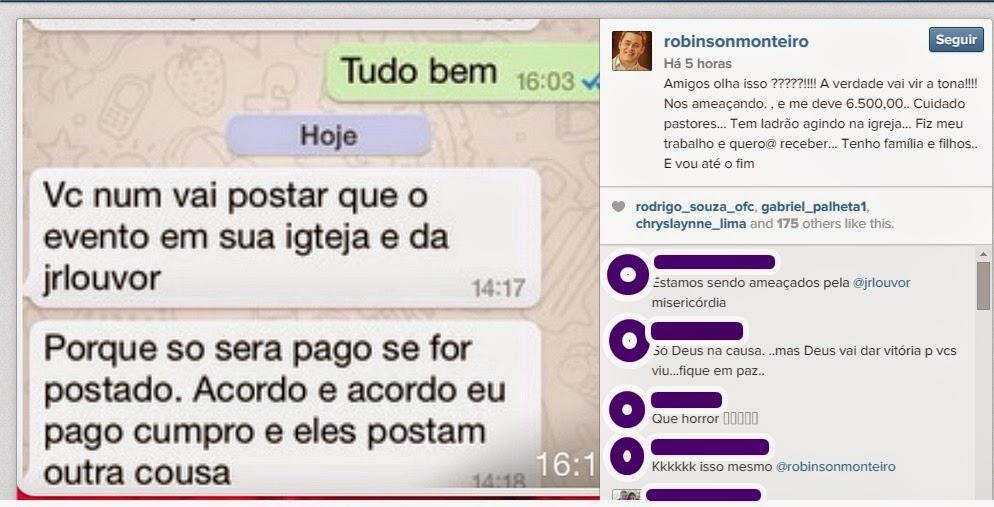 Robinson Monteiro denúncia que está sendo vitima de estelionatário