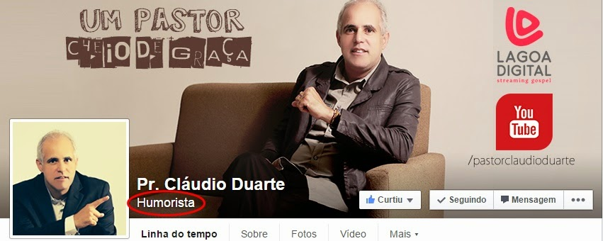 Página do pastor claudio duarte no Facebook