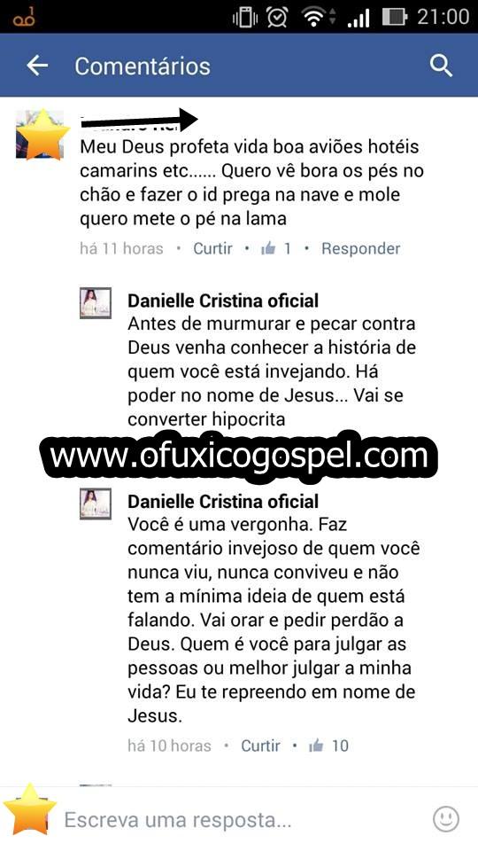 Musica gospel | Cantora Danielle Cristina tem ataque de fúria e detona fã no Facebook