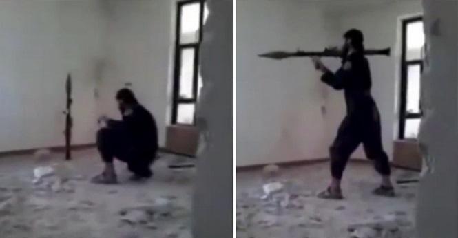 Vídeo chocante mostra terrorista do Estado Islâmico acidentalmente se explodindo ao tentar atirar em inimigos