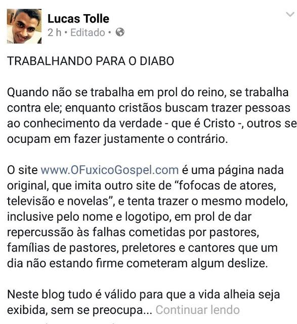 Musica gospel | Irmão de cantor gospel se revolta e critica O Fuxico Gospel nas redes sociais