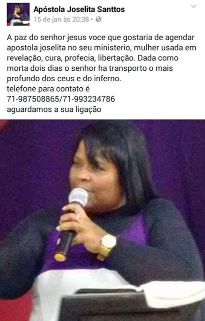 """""""Apóstola"""" que foi arrebatada e dada como morta, pede dinheiro no Facebook"""