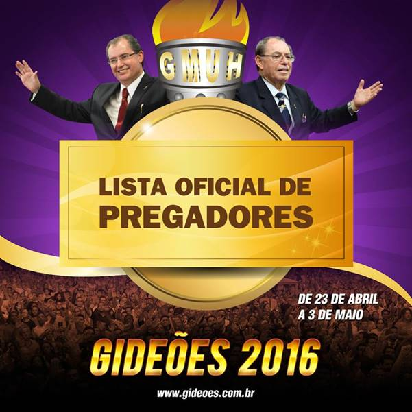 Confira a lista de Pregadores do Gideões 2016