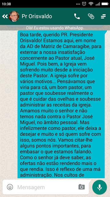 Membros da AD em Alagoas, denunciam pastor e pedem sua substituição URGENTE!