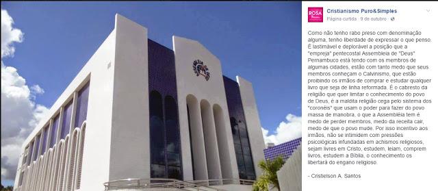 Assembleia de Deus em PE, teria proibido membros de ler livros sobre teologia reformada