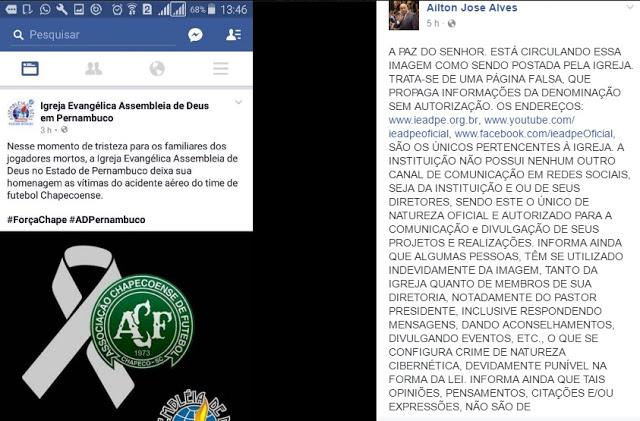 Segundo Print do Facebook do Pastor José Ailton Alves