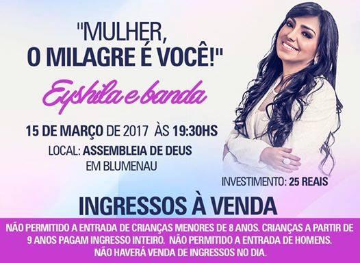 Cartaz de evento na igreja com a cantora Eyshila