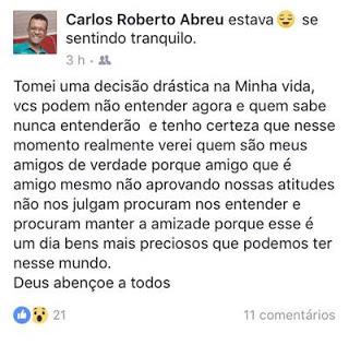 Postagem do pastor Carlos Roberto Abreu no Facebook