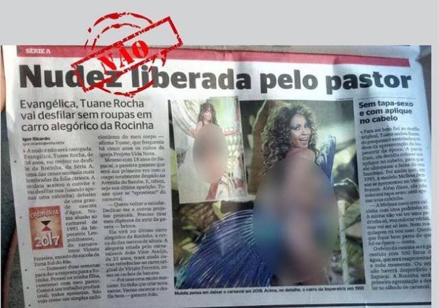 Matéria do Jornal Extra sobre evangélica nua no carnaval