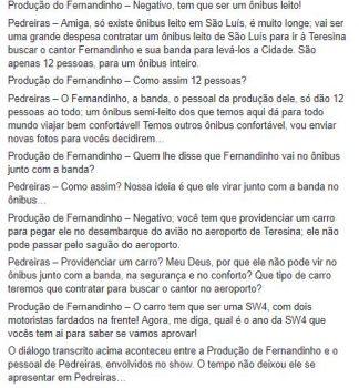 Print 01 da conversa com a produção do cantor Fernandinho