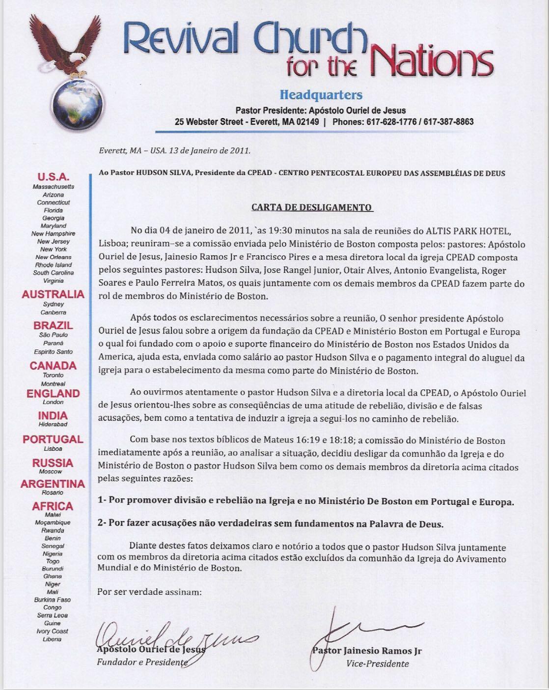 Carta de desligamento do pastor Hudson Silva