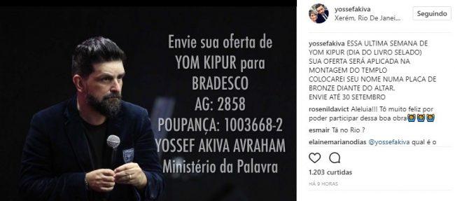 Yousef Akiva pede ofertas (reprodução)