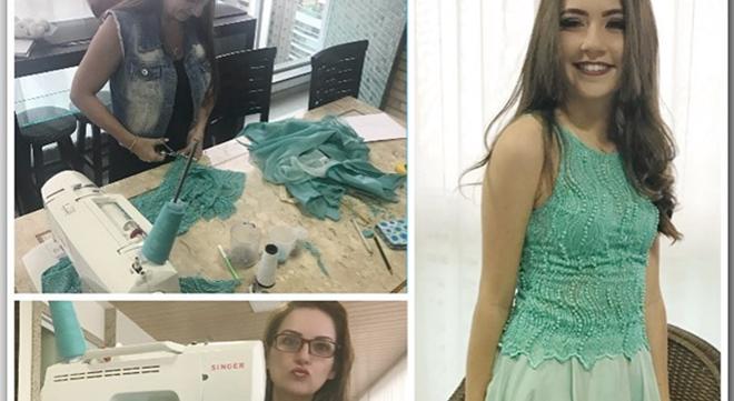 Lauriete costura vestido pra filha e mostra que é gente como a gente