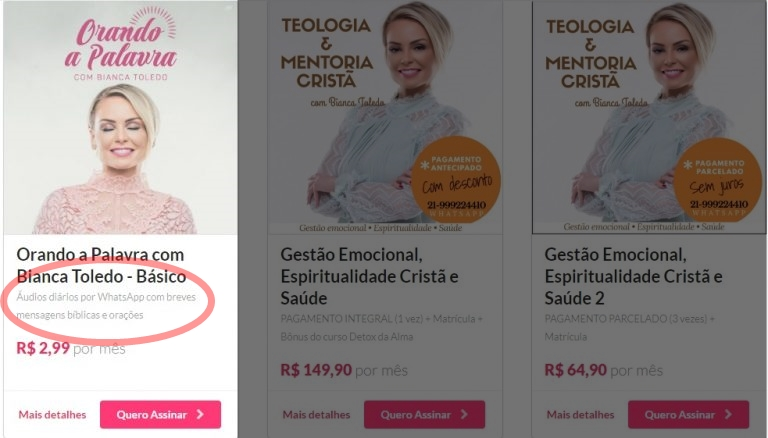 Produtos vendidos por Bianca Toledo