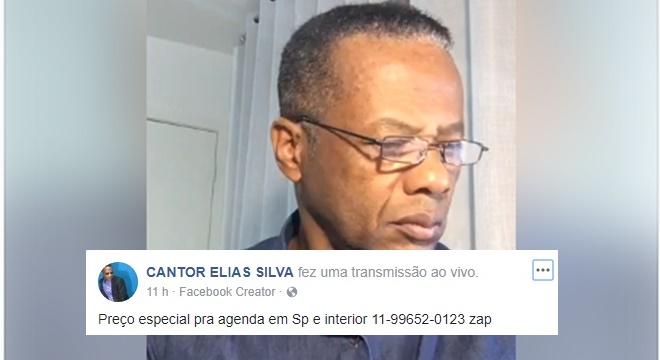 Cantor gospel Elias Silva (Reprodução)