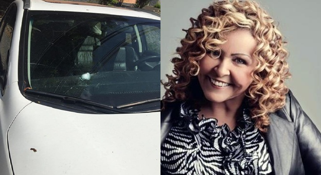 Carro da cantora gospel Shirley Carvalhaes é atingido por tiro de fuzil