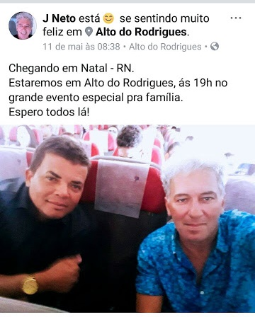 J.Neto divulgou o evento em sua página no Facebook