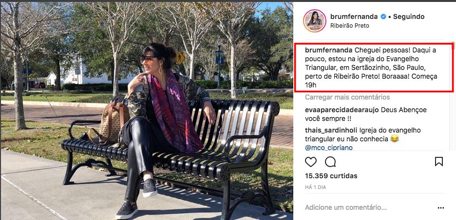 Fernanda Brum se apresenta em igreja de nome curioso e internautas reagem