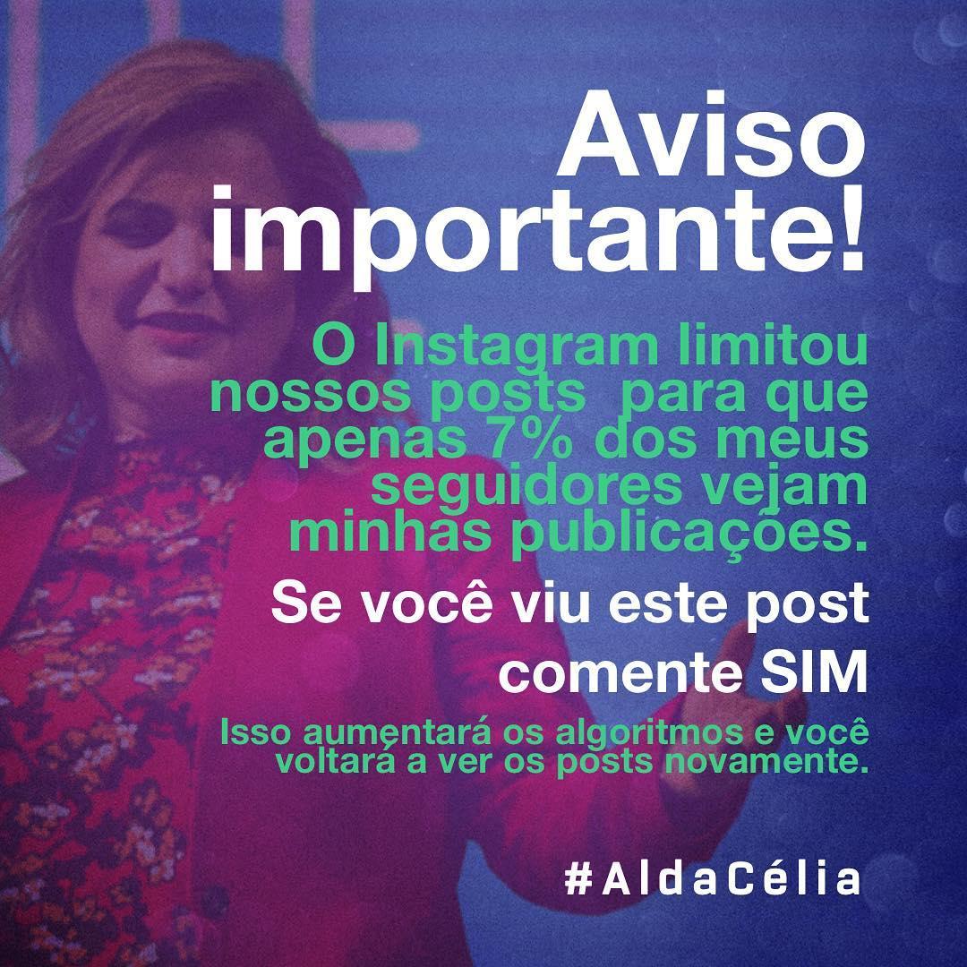 Post de Alda Celia sobre Instagram (reprodução)