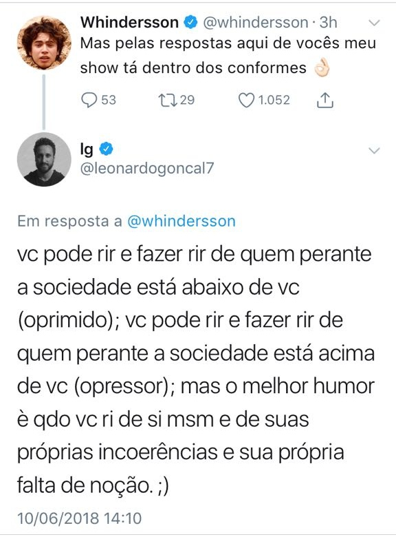 Print de post do cantor Leonardo Gonçalves e Whinderson Nunes no Twitter