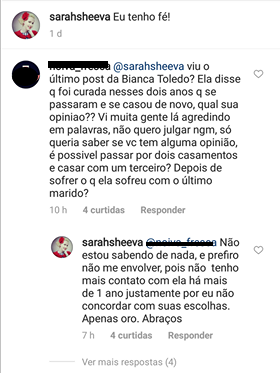 Sarah Sheeva sobre Bianca Toledo