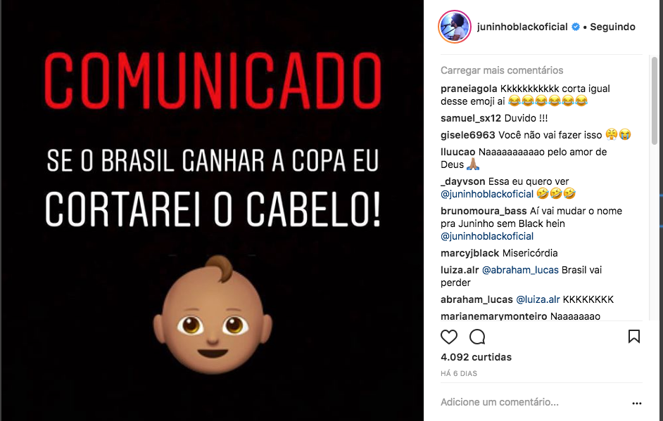 Post de Juninho Black no Instagram