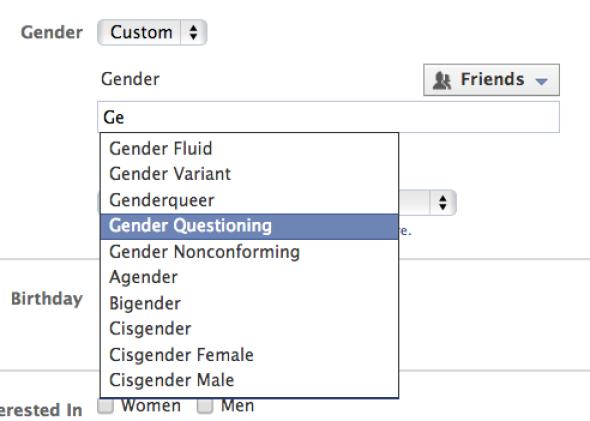 Facebook gênero
