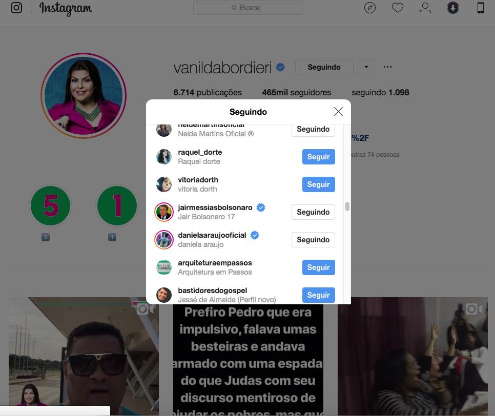 Perfil do Instagram Vanilda Bordieri (Reprodução Instagram)