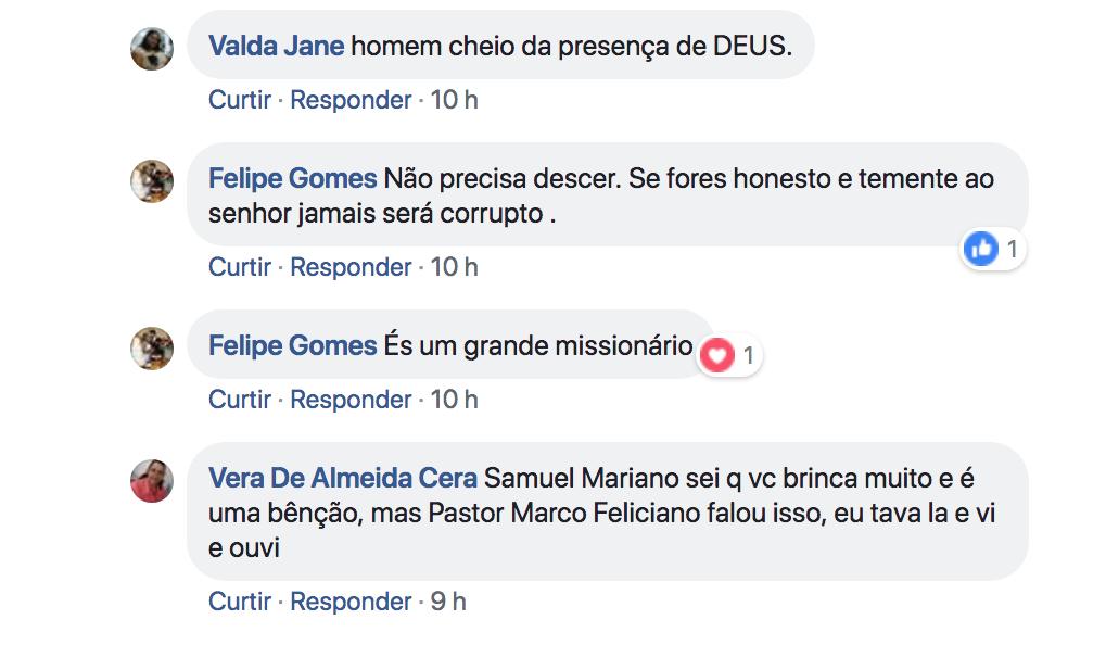 Comentários na rede social de Samuel Mariano