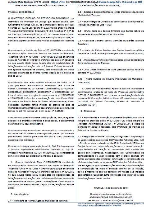 Publicação do Diário Oficial de Tocantins (Reprodução Internet)