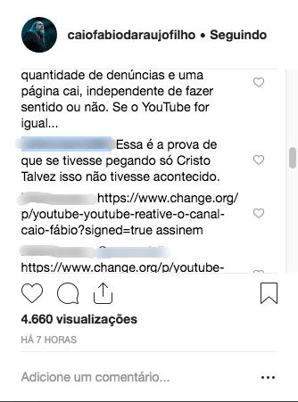 Comentários dos seguidores do reverendo (Reprodução Instagram)