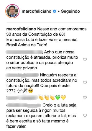 Comentários dos seguidores do Deputado Marco Feliciano (Reprodução Internet)