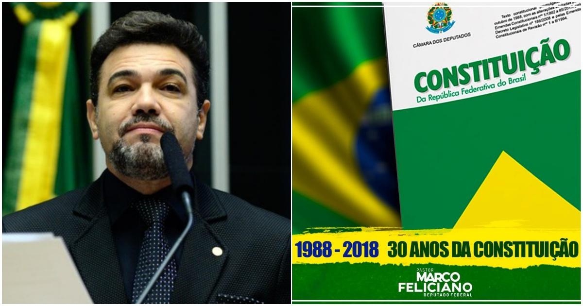 Deputado Marco Feliciano, Constituição Federal do Brasil (Reprodução Internet)