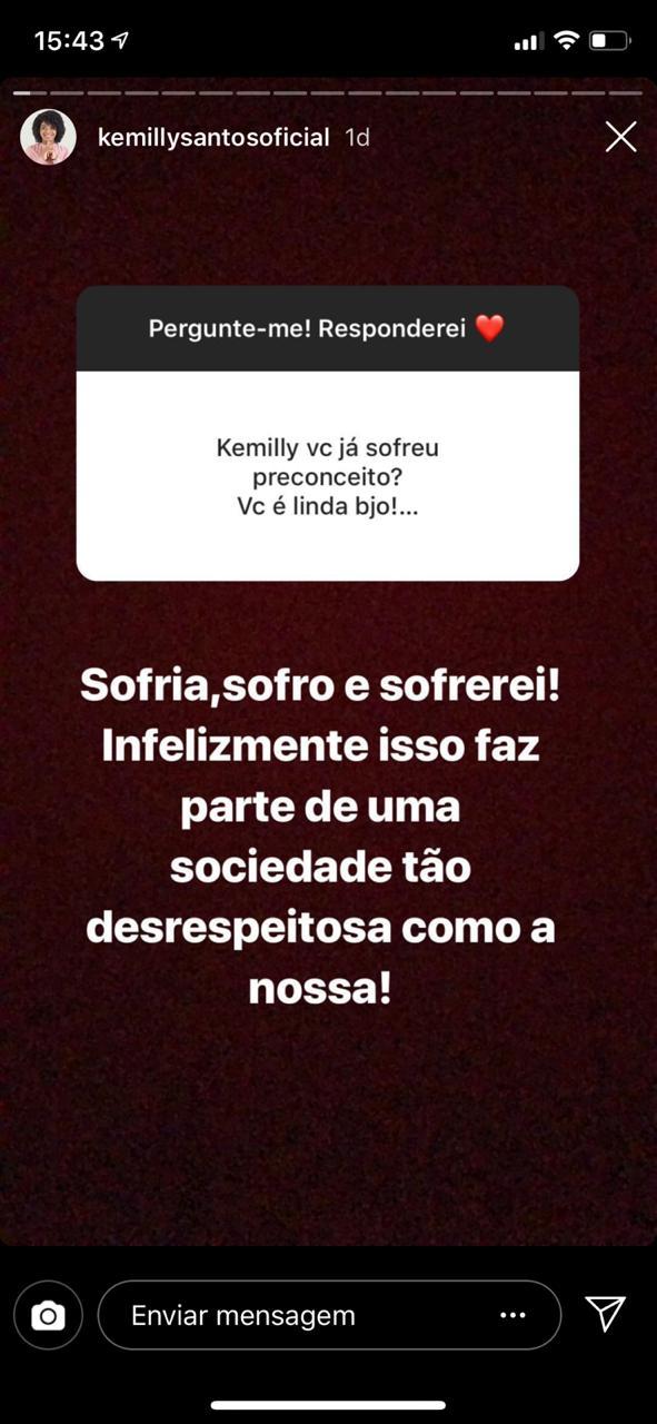 Stories de Kemilly Santos (Reprodução Instagram)