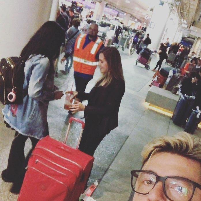 Fernanda e Emerson chegando no aeroporto nos Estados Unidos (Reprodução Instagram)