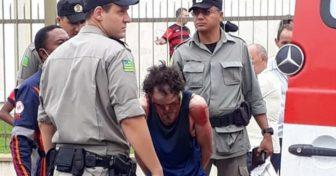 Uilker Alves, autor do crime sendo preso (Reprodução Internet)