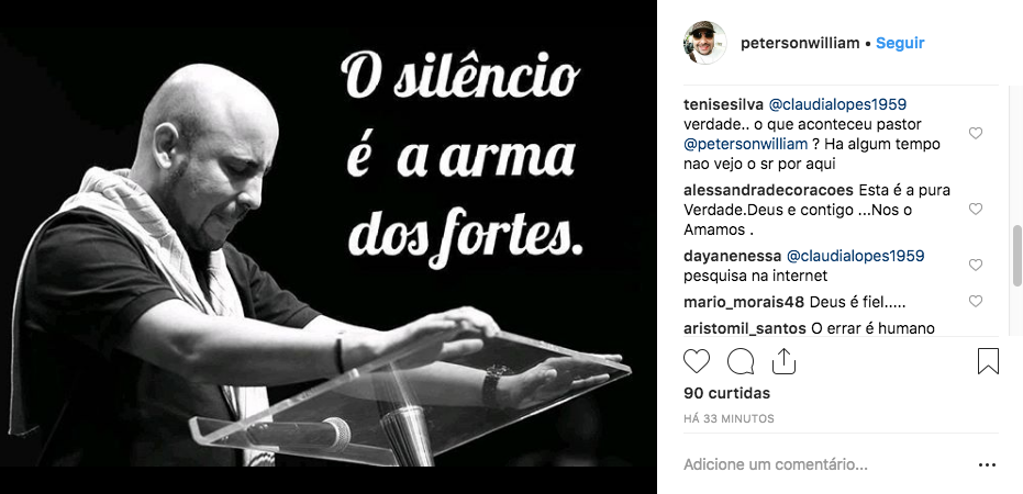 Print do post do pastor Peterson